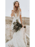 www.promnova.com supply Beautiful Ivory Lace Mermaid Off-the-Shoulder Beach Wedding Dresses PW247
