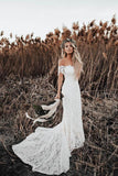 Beautiful Ivory Lace Mermaid Off-the-Shoulder Beach Wedding Dresses PW247