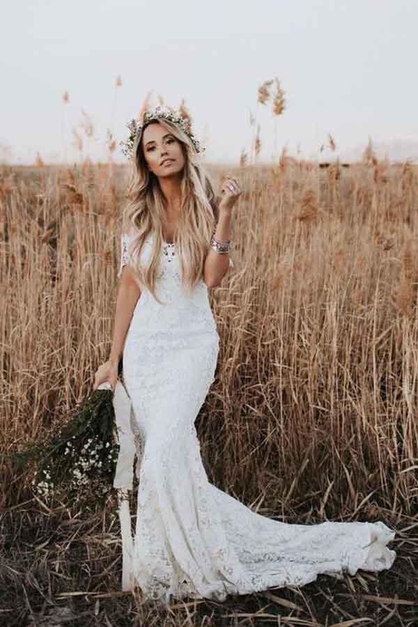 Find Beautiful Ivory Lace Mermaid Off-the-Shoulder Beach Wedding Dresses PW247 at www.promnova.com