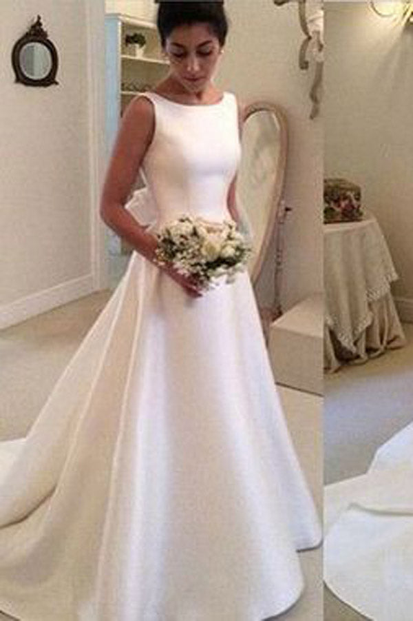 White Satin A Line Backless Wedding Dresses with Sweep Train, PW139