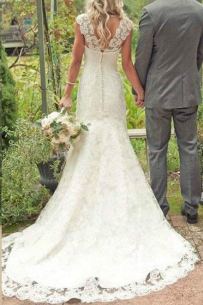 Gorgeous Ivory Lace Country Trumpet Mermaid Court Train Wedding Dress |www.promnova.com