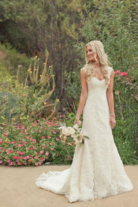 Gorgeous Ivory Lace Country Trumpet Mermaid Court Train Wedding Dress |promnova.com