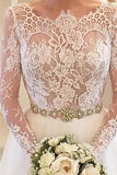 White Beading Lace Backless A-line Long Sleeves Wedding Dresses With Court Train|www.promnova.com