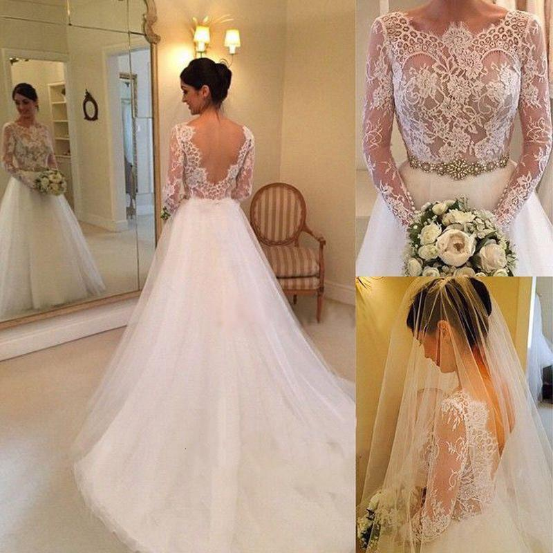 White Beading Lace Backless A-line Long Sleeves Wedding Dresses With Court Train PW237|promnova.com