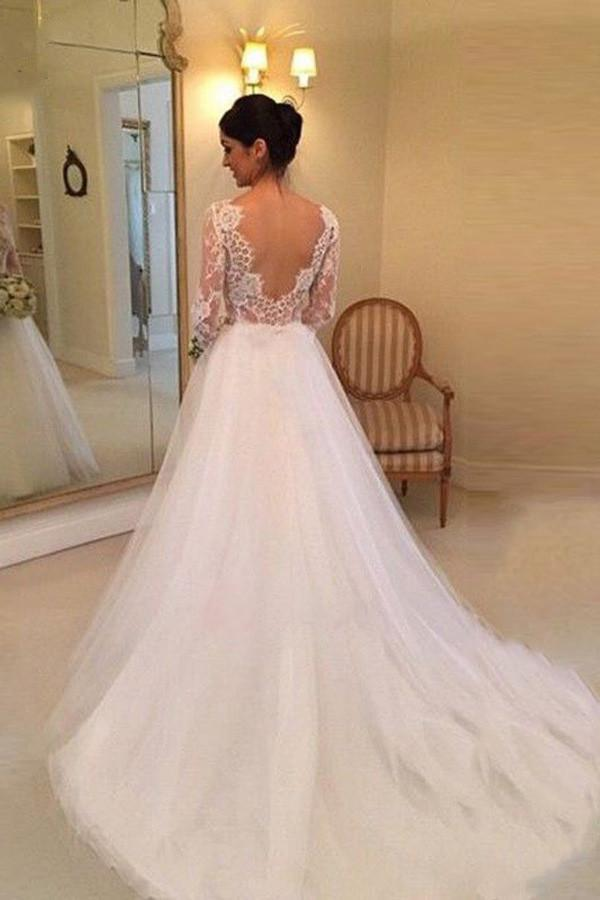 White Beading Lace Backless A-line Long Sleeves Wedding Dresses With Court Train |promnova.com