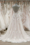 Strap V Neck Sleeveless Tulle Beach Backless Ivory Wedding Dresses PW239 |promnova.com