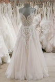 Strap V Neck Sleeveless Tulle Beach Backless Ivory Wedding Dresses |www.promnova.com