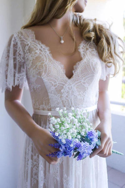 Romantic A-line Open Back V Neck White Lace Long Wedding Dresses PW241|promnova.com