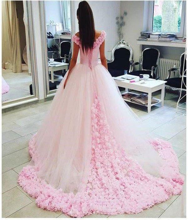 Pink Off shoulder Ball Gown Tulle Flowers Wedding Dresses Quinceanera Dresses PW243 |promnova.com