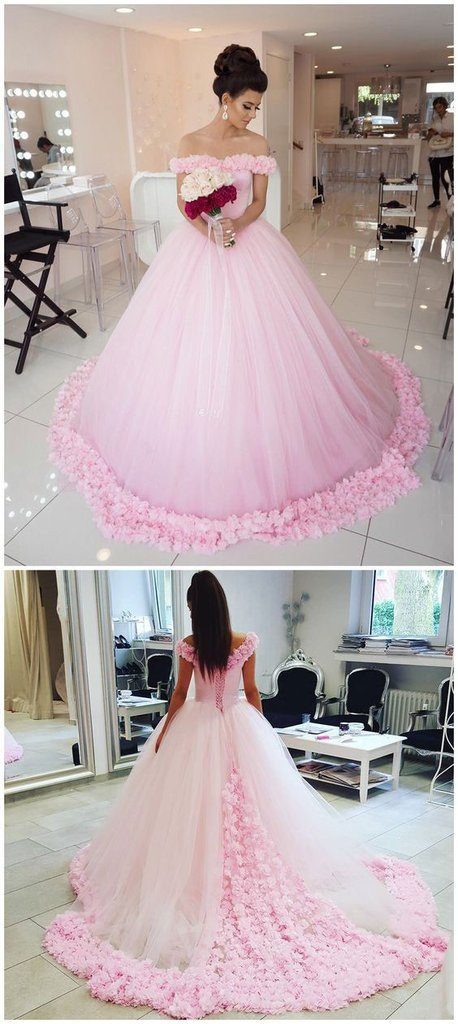 Pink Off Shoulder Ball Gown Tulle Flowers Wedding Dresses