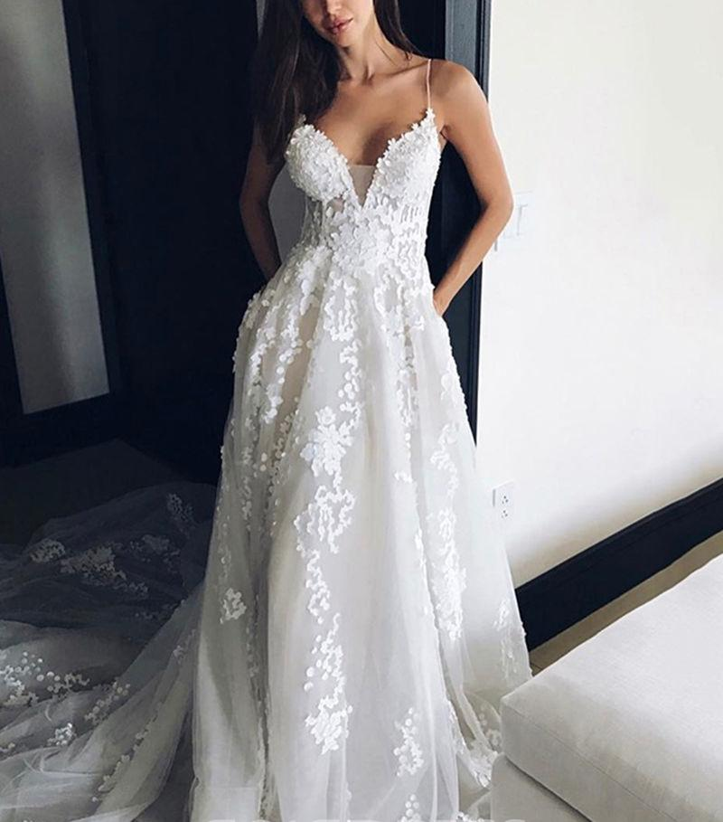 Tulle Backless Deep V neck Lace Sleeveless Spaghetti Straps Beach Wedding Dress PW244 |promnova.com
