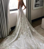 Tulle Backless Deep V neck Lace Sleeveless Spaghetti Straps Beach Wedding Dress |www.promnova.com