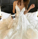 Tulle Backless Deep V neck Lace Sleeveless Spaghetti Straps Beach Wedding Dress PW244