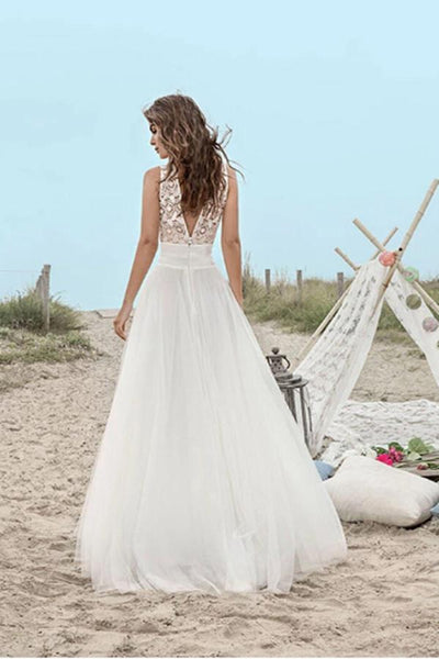 A-Line Lace Floor-Length V-Neck Open Back Boho Sleeveless Tulle Beach Wedding Dress |promnova.com