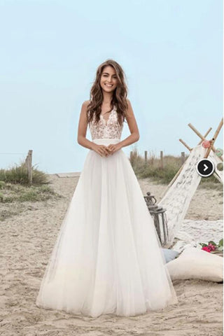 A-Line Lace Floor-Length V-Neck Open Back Boho Sleeveless Tulle Beach Wedding Dress |www.promnova.com