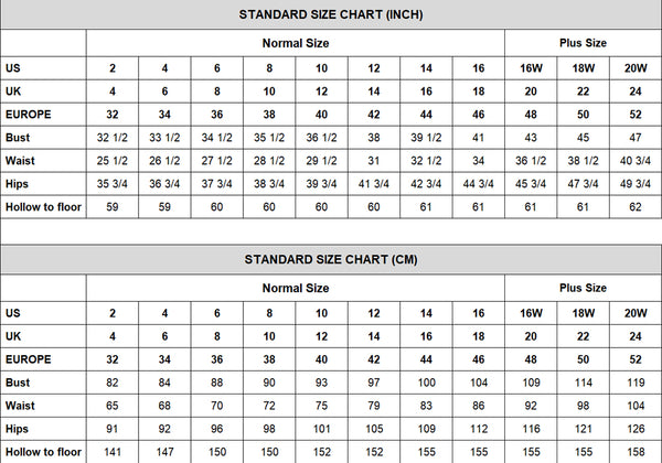 Size Chart of prom dresses wedding dresses prom dresses at promnova.com