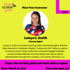 Class: How to find, pitch and work with a Literary Agent