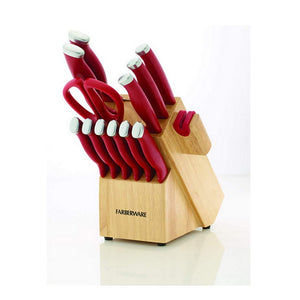 Farberware 15 piece Edgekeeper Cutlery Knife Set with Wood Block Set and Mats