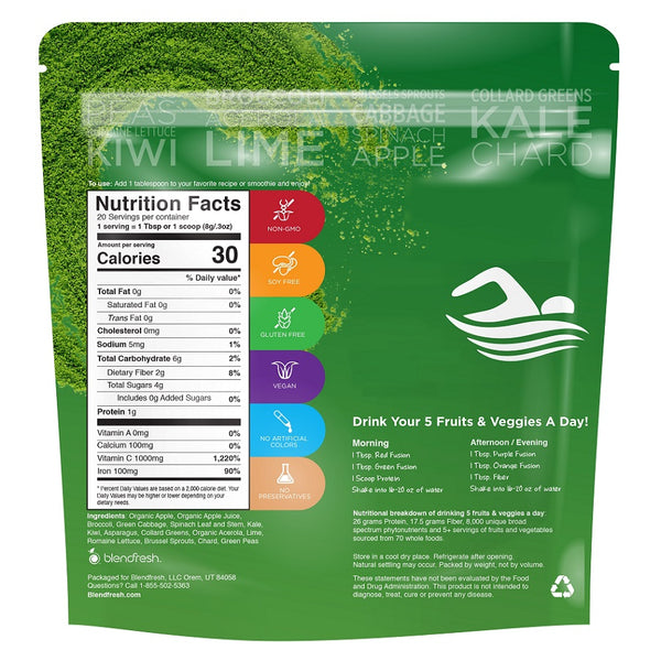 Blendfresh 15 Green Fruits & Vegetables Whole Food Powder (Promo BUY 1 FREE 1)