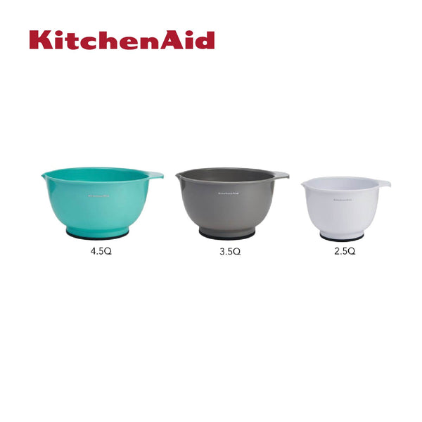 Set of 3 Mixing Bowls Assorted Colours (White, Grey & Aqua Sky)