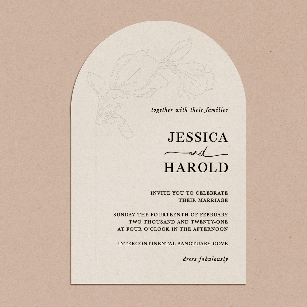 'Magnolia' | Letterpress Wedding Invitation