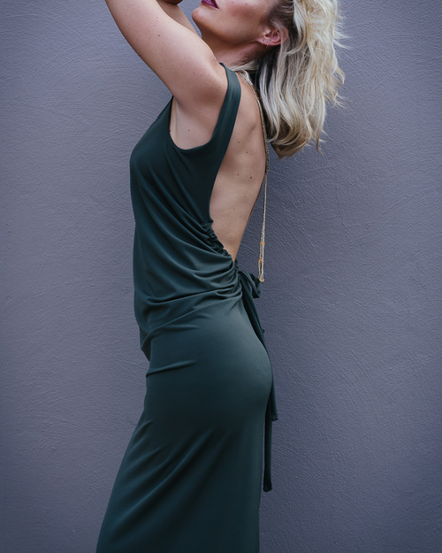 Olive Green Drawstring Dress