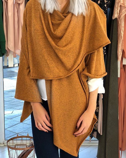 Brown Melange Knit Wrap