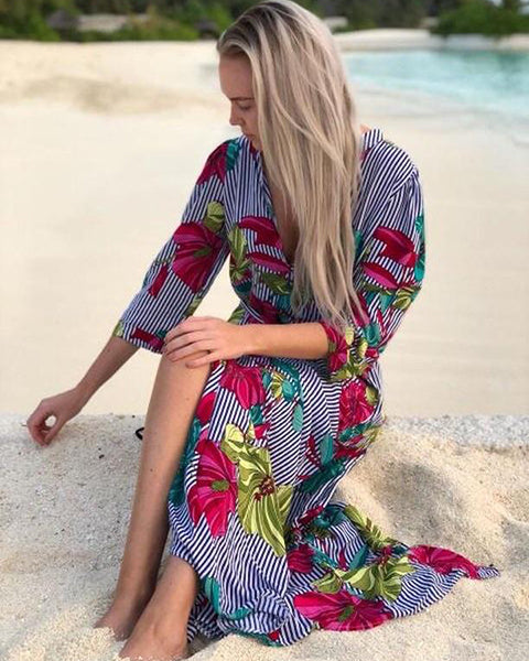 Nautical Floral Shirt Dress
