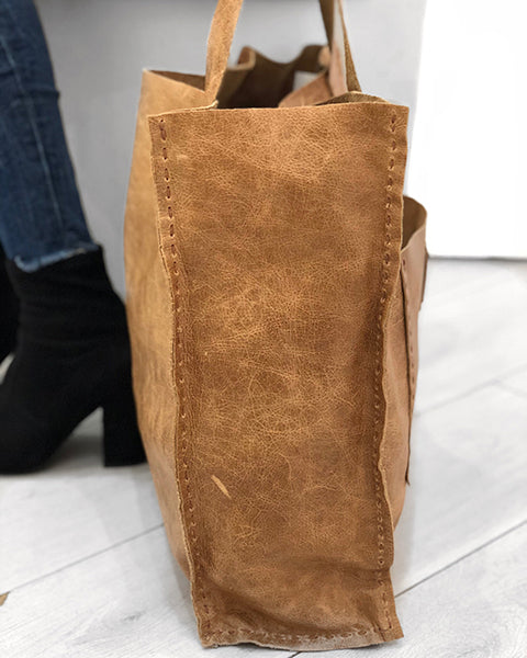 Tan Leather Shopper