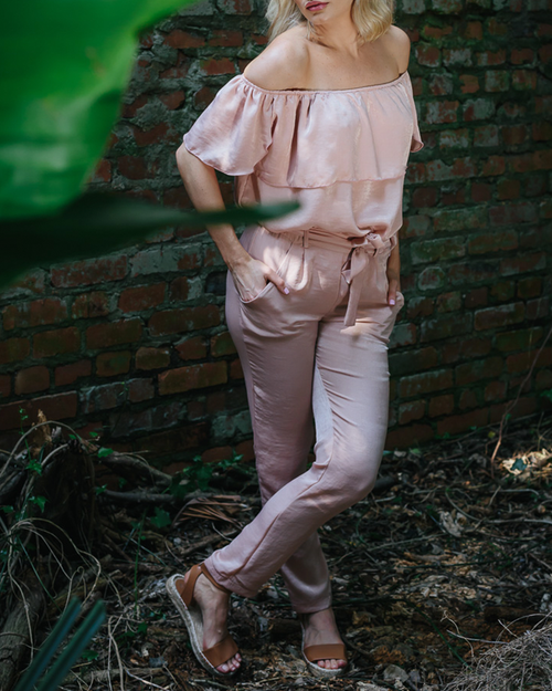 Blush Satin Pants