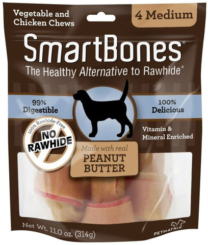 Smartbones Medium Peanut Butter Chew Bones Dog Treats