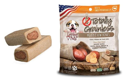 Loving Pets Totally Grainless Grain Free Beef and Sweet Potato Recipe Meaty Chew Bones Dog Treats