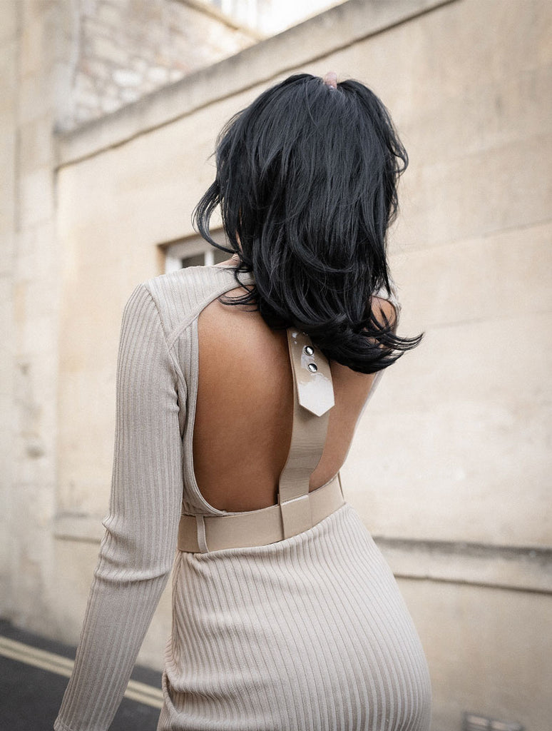 THE 'ALISHA' BACKLESS RIBBED BANDAGE DRESS
