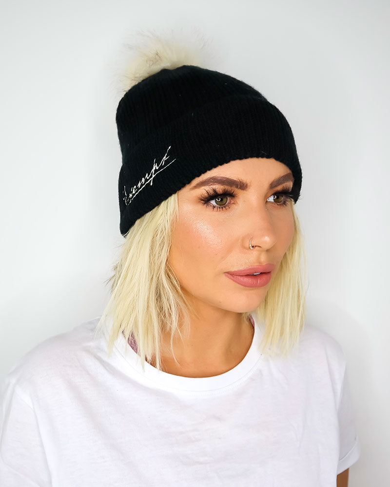 Exempt Knitted Bobble Hat - Black
