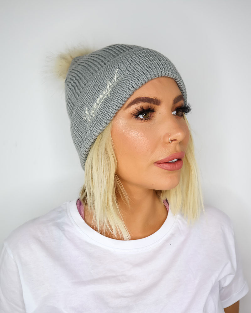 Exempt Knitted Bobble Hat - Grey