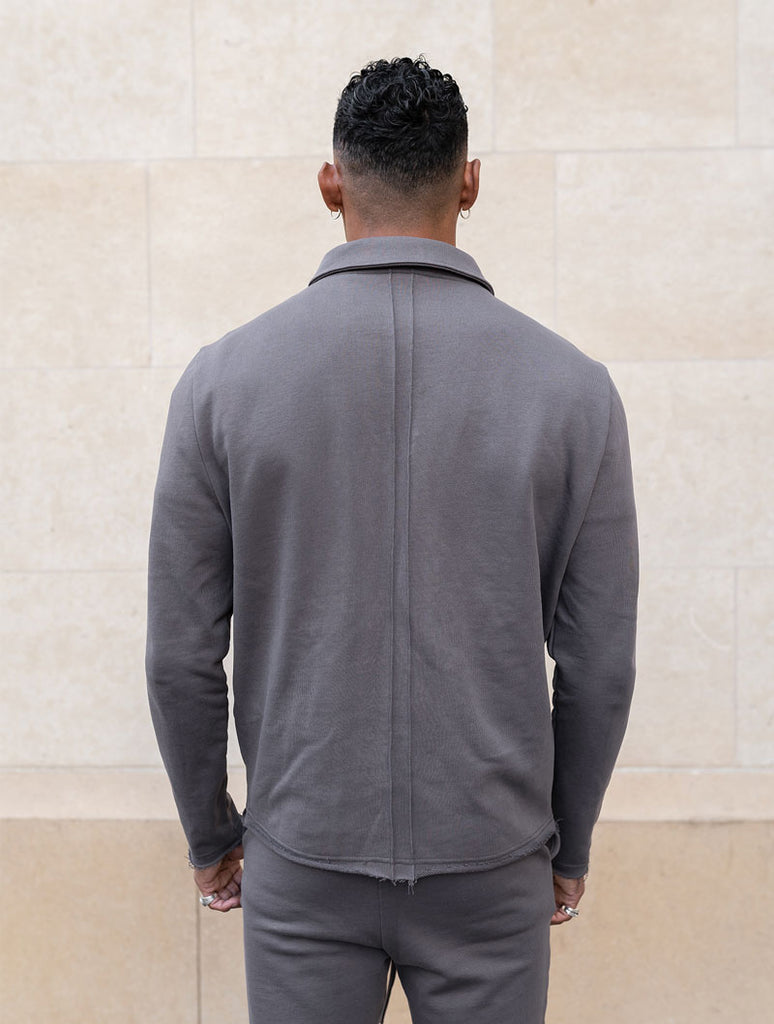 GREY RAW EDGE JACKET