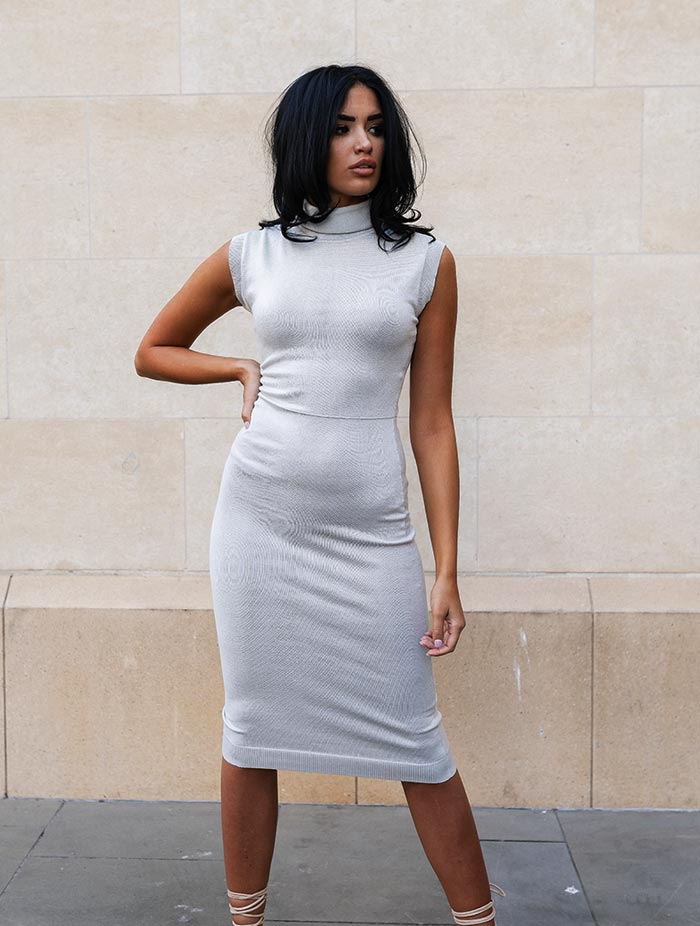 THE 'TINA' ROLL NECK KNITTED DRESS