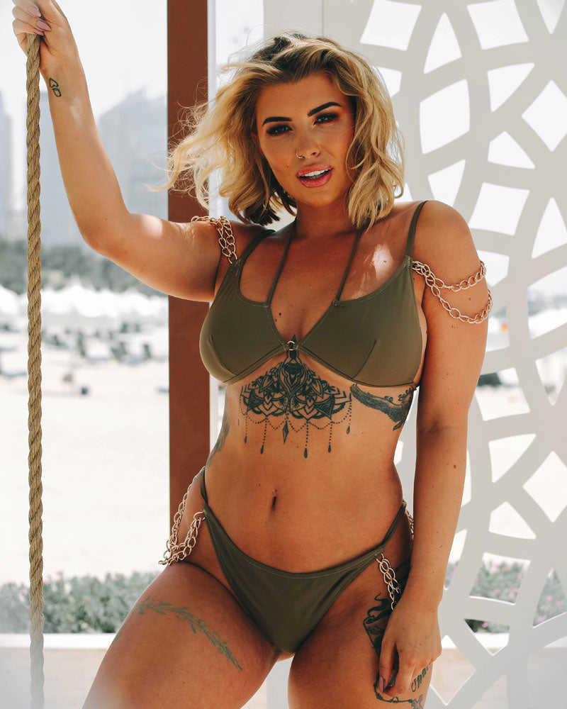 Khaki/Gold Chained Bikini - Top