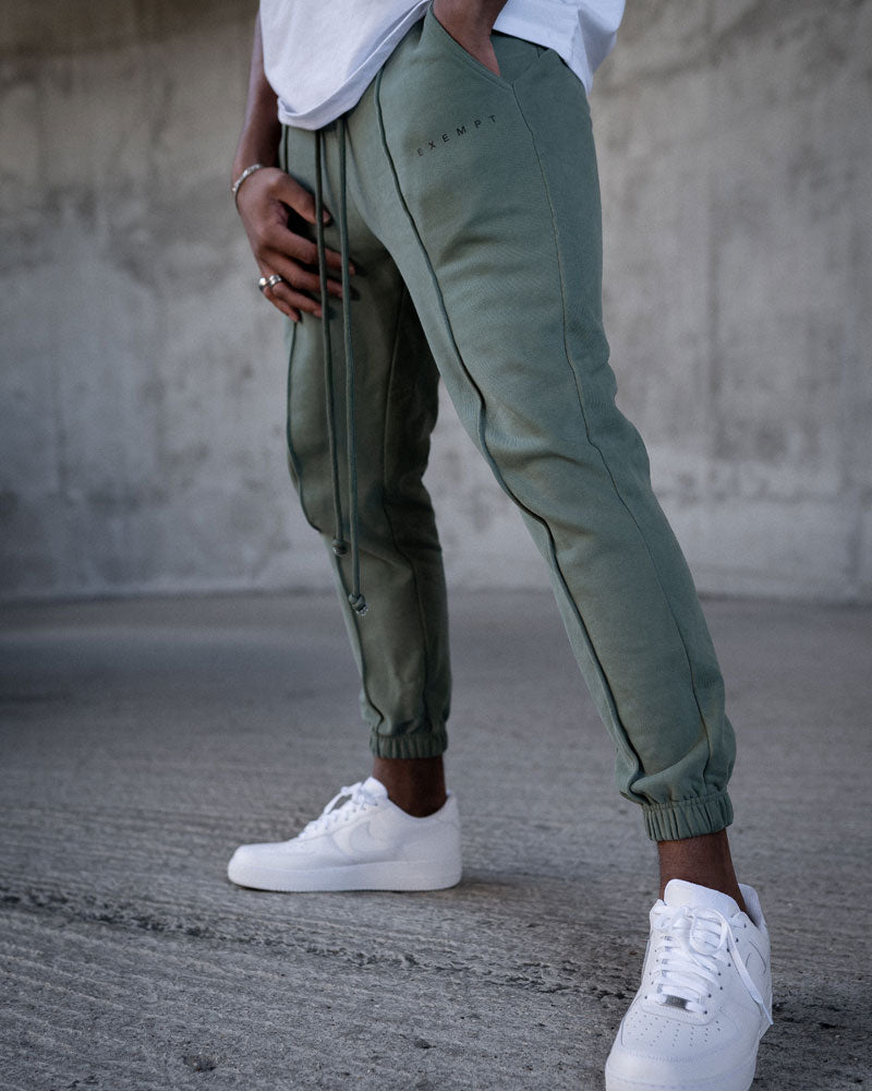 KHAKI HEAVYWEIGHT JOGGERS WITH SEAM