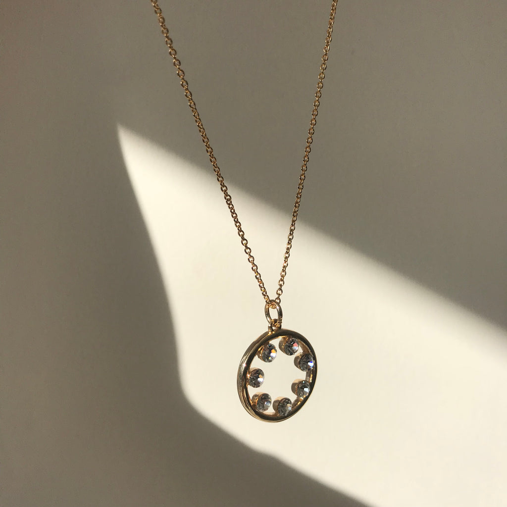 Gold Circle Diamond Necklace
