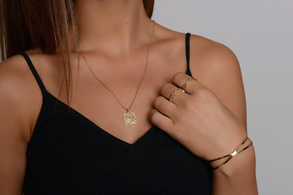 Gold Maze Pendant Necklace