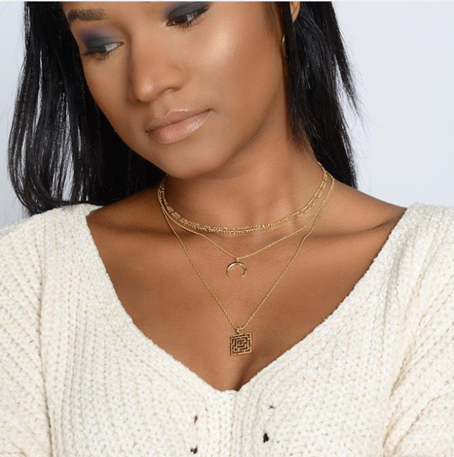 Gold Double Layered Chain Necklace