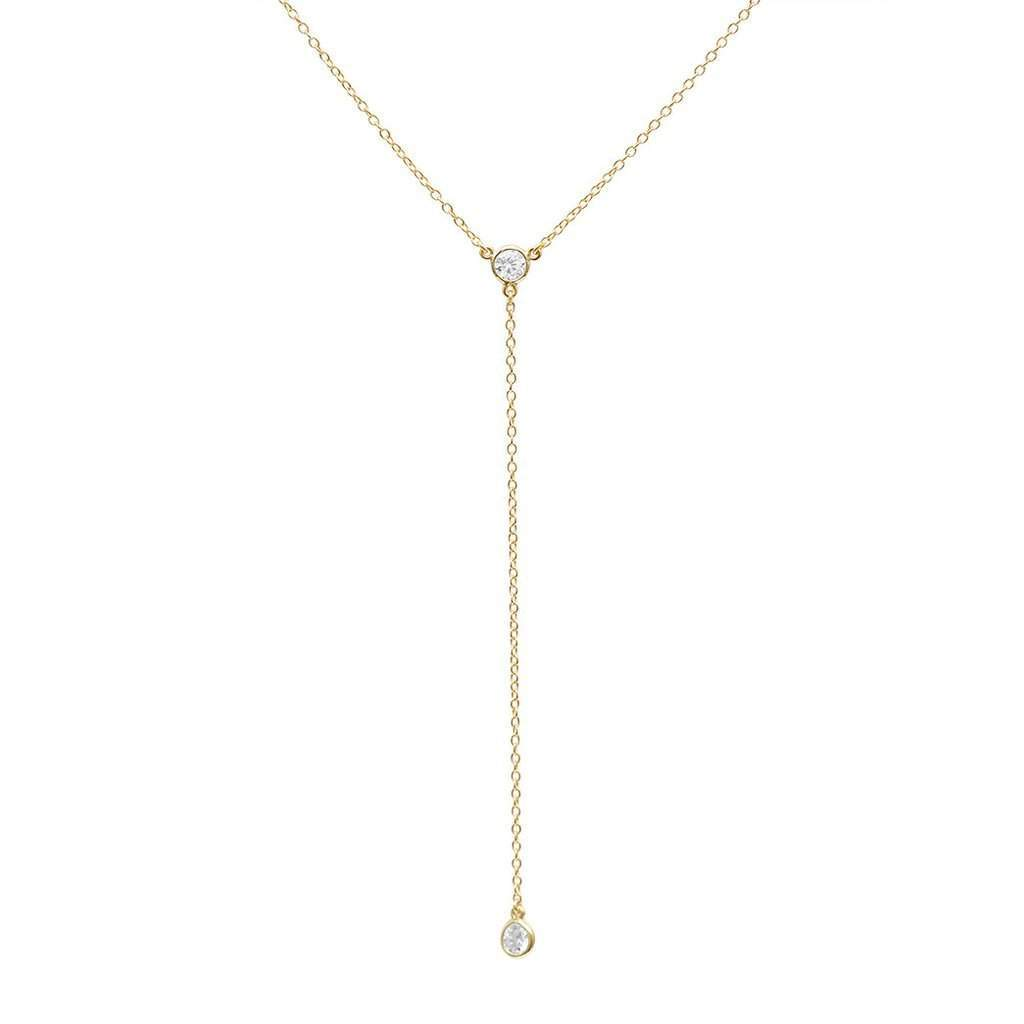 Gold Lariat Drop Necklace