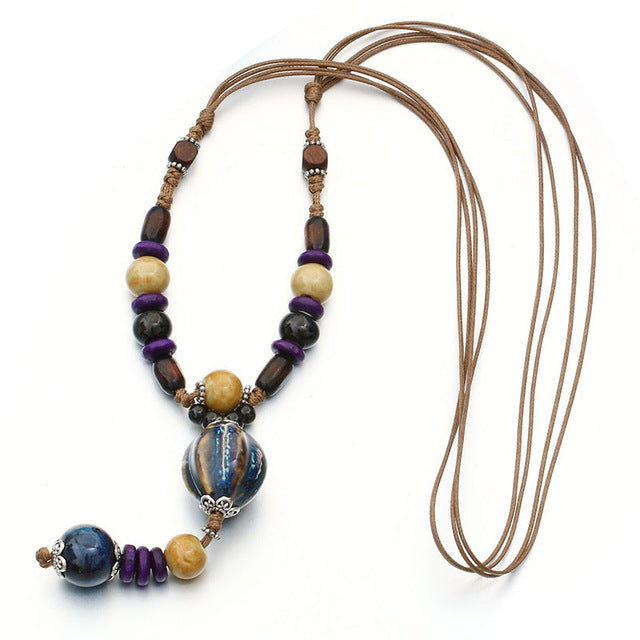 Hand Made Ceramic Beads Necklace
