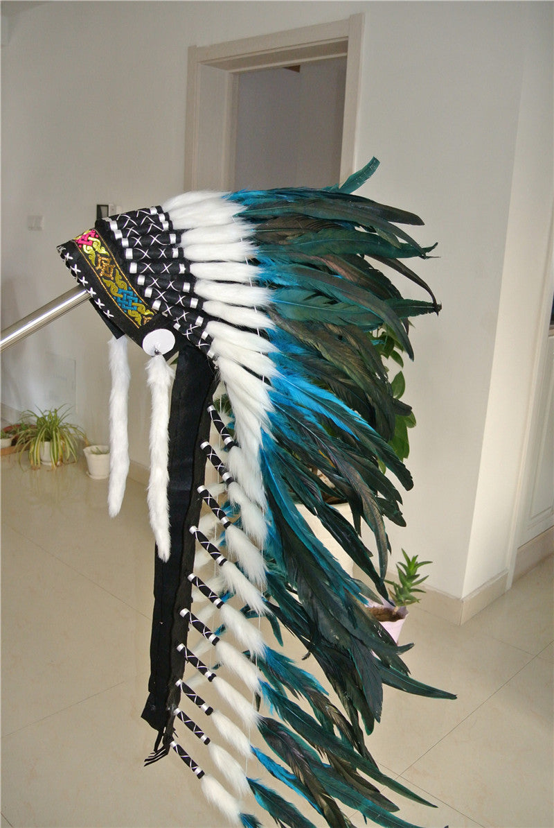 Turquoise Feather Headdress War Bonnet