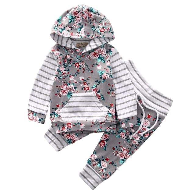 Ella Floral Hooded Set - Rowley's Baby Boutique  - Express U.S. Delivery