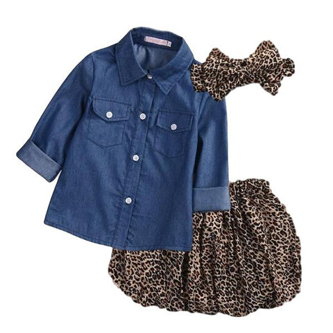 Ellie Leopard Denim Set - Rowley's Baby Boutique  - Express U.S. Delivery