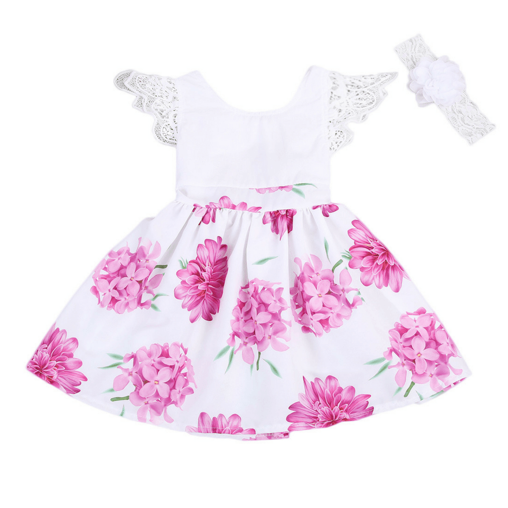 Floral Lace Dress Set - Rowley's Baby Boutique  - Express U.S. Delivery