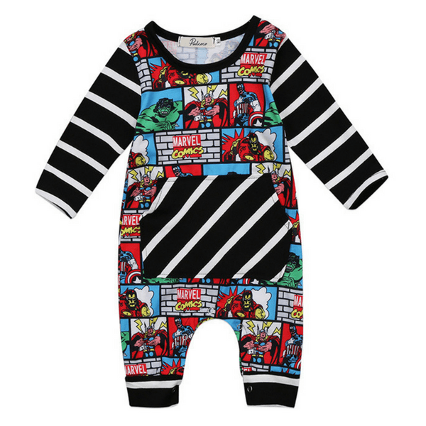 Comic Superhero Romper - Rowley's Baby Boutique  - Express U.S. Delivery