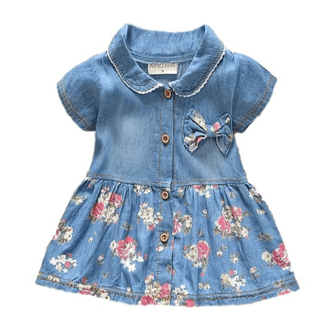 Denim Floral Dress - Rowley's Shop - 4 Days U.S. Delivery